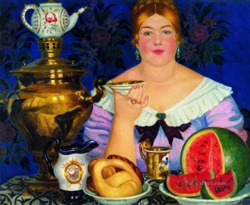 drinking - mercahnt s wife drinking tea 1923 Boris Mikhailovich Kustodiev