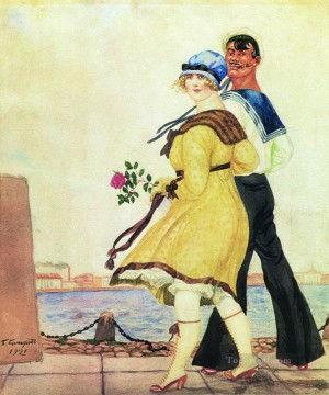 sailor and his girl 1921 Boris Mikhailovich Kustodiev Oil Paintings