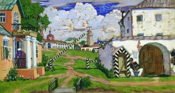 square at the exit of the city 1911 Boris Mikhailovich Kustodiev Oil Paintings