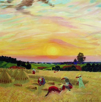 the harvest 1914 Boris Mikhailovich Kustodiev Oil Paintings