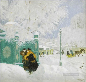 WINTER SCENE Boris Mikhailovich Kustodiev Oil Paintings