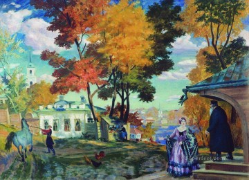 autumn 1924 Boris Mikhailovich Kustodiev Oil Paintings