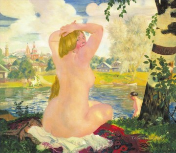 bathing 1921 Boris Mikhailovich Kustodiev Oil Paintings