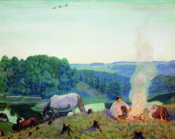 fireplace night 1916 Boris Mikhailovich Kustodiev Oil Paintings