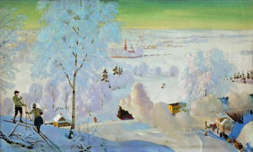skiers 1919 Boris Mikhailovich Kustodiev Oil Paintings