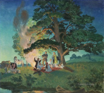 PICNIC Boris Mikhailovich Kustodiev Oil Paintings