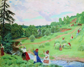 haymaking 1917 Boris Mikhailovich Kustodiev Oil Paintings