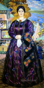 the merchant s wife 1915 Boris Mikhailovich Kustodiev Oil Paintings