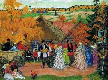 village holiday autumn holiday in the village 1914 Boris Mikhailovich Kustodiev Oil Paintings