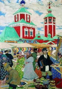at the fair 1910 Boris Mikhailovich Kustodiev Oil Paintings