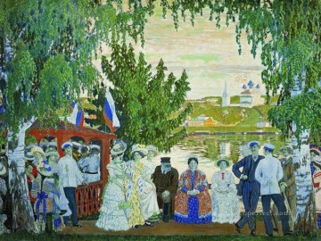 festive gathering 1910 Boris Mikhailovich Kustodiev Oil Paintings