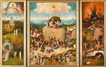 Hieronymus Oil Painting - Haywain moral Hieronymus Bosch