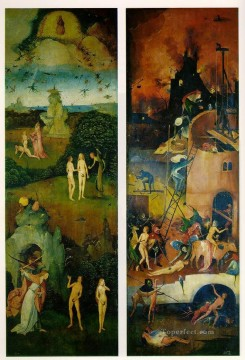 left Canvas - Paradise and Hell left and right panels of a triptych moral Hieronymus Bosch