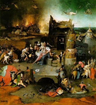 Hieronymus Bosch Painting - Temptation of St Anthony central panel of the triptych moral Hieronymus Bosch