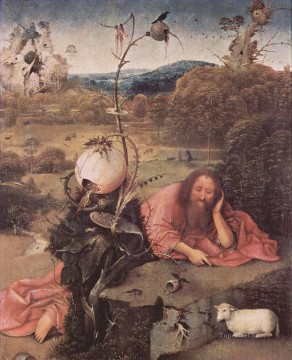 Meditation Art - st john the baptist in meditation 1499 Hieronymus Bosch