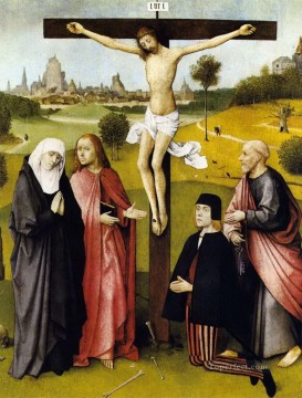 Donor Works - crucifixion with a donor 1485 Hieronymus Bosch