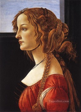 Botticelli Canvas - Portrait of an young woman Sandro Botticelli