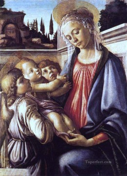 Botticelli Canvas - Madonna And Child And Two Angels Sandro Botticelli