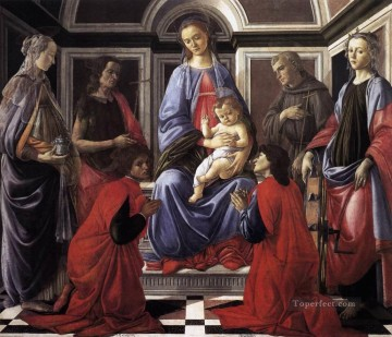 Sandro Botticelli Painting - Madonna And Child With Six saints Sandro Botticelli
