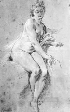 seated Art - Seated Nude Rococo Francois Boucher
