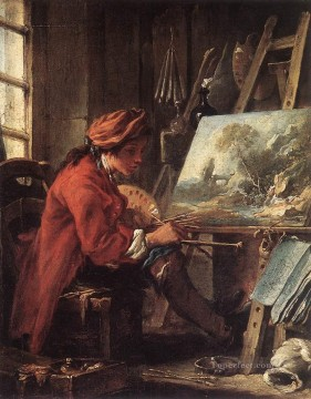 painter Oil Painting - The Painter in His Studio Rococo Francois Boucher