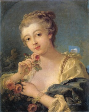 Rose Art - Young Woman with a Bouquet of Roses Francois Boucher
