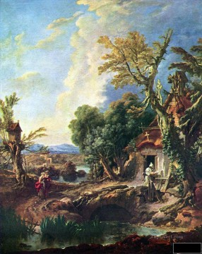 Boucher Painting - Landscape with the brother Francois Boucher