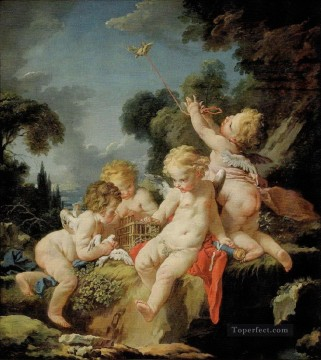 Putti with Birds Francois Boucher Oil Paintings