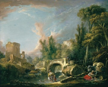 River Landscape with Ruin and Bridge Francois Boucher Oil Paintings