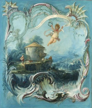 The Enchanted Home A Pastoral Landscape Surmounted by Cupid Francois Boucher Oil Paintings