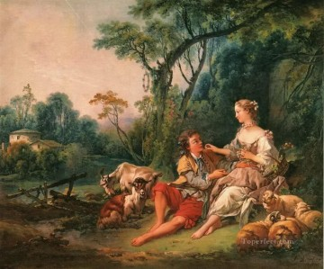 Love Painting - shepherd lovers Francois Boucher