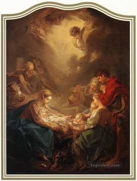 Adoration Art - Adoration of the Shepherds Rococo Francois Boucher