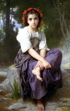 William Adolphe Bouguereau Painting - Au bord du ruisseau Realism William Adolphe Bouguereau