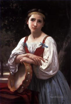 Bohemienne au Tambour de Basque Realism William Adolphe Bouguereau Oil Paintings