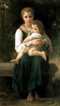 William Adolphe Bouguereau Painting - Brother and Sister Realism William Adolphe Bouguereau