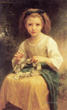 William Adolphe Bouguereau Painting - Enfant tressant une couronne Realism William Adolphe Bouguereau