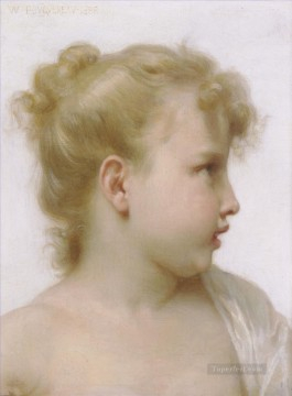 Etude tete de petite fille tete de petite fille Realism William Adolphe Bouguereau Oil Paintings