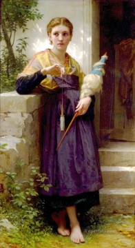 William Adolphe Bouguereau Painting - Fileuse Realism William Adolphe Bouguereau