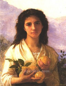 Girl Holding Lemons 1899 Realism William Adolphe Bouguereau Oil Paintings