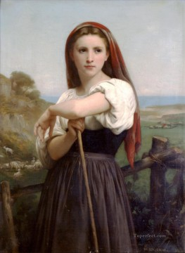 William Adolphe Bouguereau Painting - Jeune bergere 1868 Realism William Adolphe Bouguereau