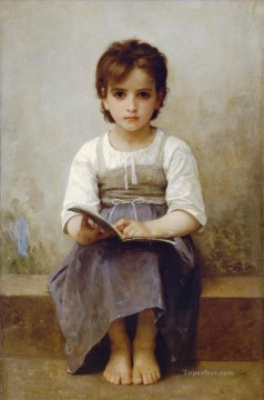 William Adolphe Bouguereau Painting - La lecon difficile Realism William Adolphe Bouguereau