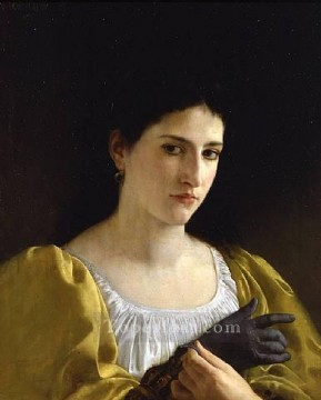 Love Painting - Lady with Glove 1870 Realism William Adolphe Bouguereau