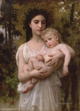 Le jeune frere 1900 Realism William Adolphe Bouguereau Oil Paintings