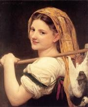 William Adolphe Bouguereau Painting - Le retour du marche Realism William Adolphe Bouguereau