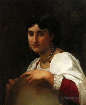 Litalienne au tambourin Realism William Adolphe Bouguereau Oil Paintings