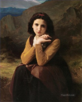 Mignon Pensive Realism William Adolphe Bouguereau Oil Paintings