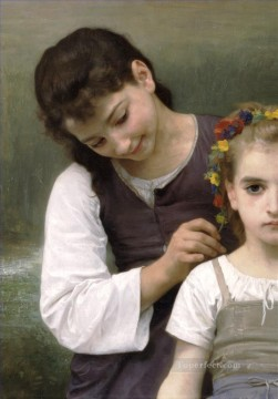 left Canvas - Parure des champs left Realism William Adolphe Bouguereau