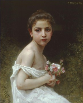 Petit Art - Petite fille au bouquet Realism William Adolphe Bouguereau