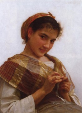 Portrait of a Young Girl Crocheting Realism William Adolphe Bouguereau Oil Paintings