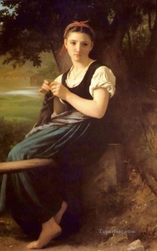 The Knitting Girl Realism William Adolphe Bouguereau Oil Paintings